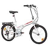 BIKE SPORT LIVE ACTIVE Klapprad Faltrad Fahrrad Bikesport Folding 20 Zoll Shimano 6 Gang (Weiß glänzend rot)