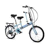 RANZIX 20' Tandem Fahrrad, Faltbar, Erwachsene Kinder Travel Bicycle Camp Fahrrad 2 Sitze zusammenklappbar Kinderfahrräder (Blau)